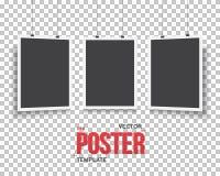 Комплект модель-макета плаката вектора Реалистический Pos черноты вектора EPS10 бумажный Стоковая Фотография