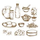 Комплект молочных продучтов вручает вычерченное, еда эскизов иллюстрация вектора