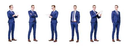 Комплект молодого и красивого бизнесмена изолированного на белизне Стоковые Изображения