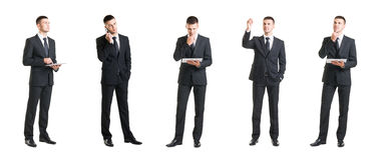 Комплект молодого и красивого бизнесмена изолированного на белизне Стоковое Изображение