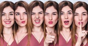 Комплект молодой женщины с различными выражениями Стоковые Фотографии RF