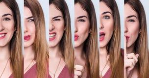 Комплект молодой женщины с различными выражениями Стоковые Изображения