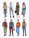 Комплект молодые люди нарисованного рукой стильного на улице Мода собрания, ультрамодная молодость цветастая иллюстрация Стоковая Фотография
