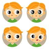 Комплект 4 молодых эмоций мальчика Стоковые Изображения RF