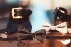 Комплект мужская одежда Пояс, бабочка Стоковые Фотографии RF