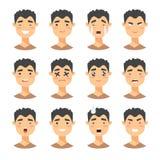Комплект мужских характеров emoji Значки эмоции стиля шаржа воплощения мальчиков с различными выражениями лица Плоское illustrat Стоковое Изображение RF