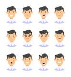 Комплект мужских характеров emoji Значки эмоции стиля шаржа Изолированные воплощения мальчиков с различными выражениями лица Плос Стоковые Изображения