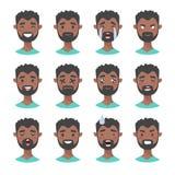 Комплект мужских характеров emoji Значки эмоции стиля шаржа Изолированные черные воплощения мальчиков с различными выражениями ли Стоковые Фотографии RF