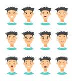 Комплект мужских характеров emoji Значки эмоции стиля шаржа Изолированные воплощения мальчиков с различными выражениями лица Плос Стоковые Фотографии RF