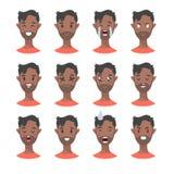 Комплект мужских характеров emoji Значки эмоции стиля шаржа Изолированные черные воплощения мальчиков с различными выражениями ли Стоковая Фотография