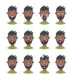 Комплект мужских характеров emoji Значки эмоции стиля шаржа Изолированные черные воплощения мальчиков с различными выражениями ли Стоковое фото RF