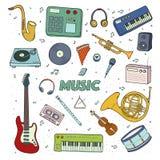 Комплект музыкальные инструменты цветастая иллюстрация Стоковые Изображения