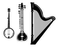 Комплект музыкальных инструментов Стилизованная арфа Черно-белая иллюстрация банджо sitar Собрание зашнурованного мюзикл иллюстрация штока