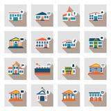 Комплект муниципальных домов в плоском стиле Бесплатная Иллюстрация