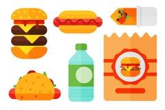 Комплект мяса cheeseburger красочного ресторана значков фаст-фуда шаржа вкусного американского и нездоровой еды бургера иллюстрация вектора