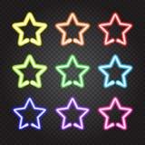 Комплект накаляя звезд неоновых свет красочных Стоковые Фотографии RF