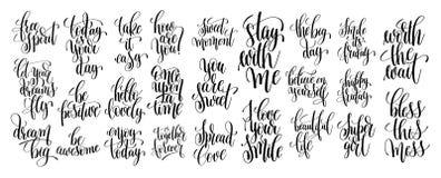 Комплект написанной руки 25 помечающ буквами мотивационные цитаты Стоковые Изображения