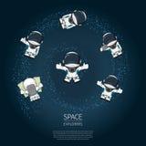 Комплект нарисованного рукой астронавта шаржа в космическом костюме Линия иллюстрация вектора искусства космическая Стоковое фото RF