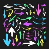 Комплект нарисованного рукой объекта краски для пользы дизайна Абстрактный чертеж щетки Стоковое Фото