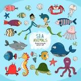 Комплект нарисованной вручную морской жизни шаржа Стоковое Фото