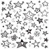 Комплект нарисованной рукой иллюстрации вектора звезды плана doodle Стоковое Фото
