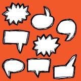 Комплект нарисованный вручную пузырей речи Стоковые Фотографии RF