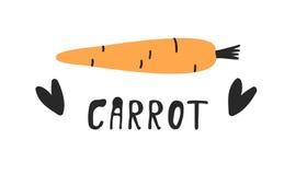 Комплект нарисованный рукой овоща и текста Еда чертежа вектора художническая Морковь иллюстрации лета Стоковые Изображения RF