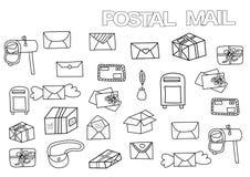 Комплект нарисованный рукой почтовый Шаблон страницы книжка-раскраски иллюстрация вектора