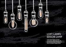 Комплект нарисованный рукой различных геометрических ламп просторной квартиры против предпосылки кирпичной стены Стоковое Изображение