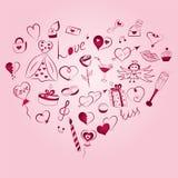Комплект нарисованный рукой символов дня ` s валентинки Чертежи Doodle ` s детей смешные красных сердец, подарков, колец, воздушн иллюстрация штока