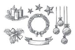 Комплект нарисованный рукой элементов украшения рождества Стоковое Фото