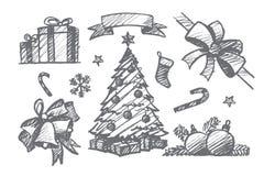 Комплект нарисованный рукой элементов украшения рождества Стоковые Изображения RF