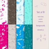 Комплект 8 нарисованных вручную безшовных предпосылок лета Стоковое Фото
