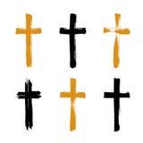 Комплект нарисованных вручную значков креста grunge, собрание иллюстрация штока