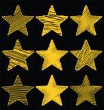 Комплект нарисованных рукой звезд золота Scribble, дизайн вектора значка установил 1 Стоковые Изображения