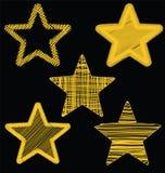 Комплект нарисованных рукой звезд золота Scribble, дизайн вектора значка установил 3 Стоковые Изображения
