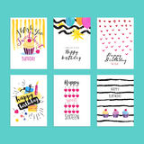 Комплект нарисованных рукой иллюстраций акварели для поздравительных открыток дня рождения Стоковые Изображения