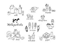 Комплект нарисованных рукой молочных продучтов контура Сыр, молочный коктейль, масло, югурт, творог, сметана, десерты, корова Стоковое Изображение
