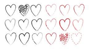 Комплект нарисованных рукой сердец вектора с различными влияниями Стоковое Изображение
