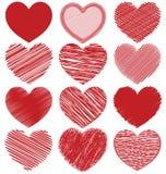 Комплект нарисованных рукой сердец Scribble, дизайн вектора значка Стоковая Фотография RF