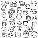 Комплект нарисованных рукой смайликов doodle плана vector иллюстрация Стоковые Фото
