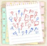 Комплект нарисованных рукой указателей карты завертывает примечание в бумагу, иллюстрацию вектора Стоковое Изображение