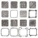 Комплект нарисованных рукой форм Scribble конструкция легкая редактирует элементы для того чтобы vector линии Стоковые Изображения RF