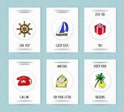 Комплект 6 нарисованных рукой шаблонов карточки вектора Бесплатная Иллюстрация