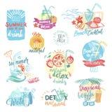 Комплект нарисованных рукой ярлыков акварели и значки морепродуктов бесплатная иллюстрация