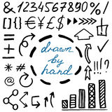 Комплект нарисованных рукой simbols валюты Стоковые Фотографии RF