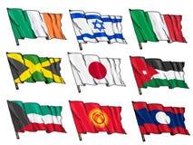 Комплект национальных флагов Стоковые Изображения RF