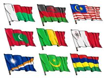 Комплект национальных флагов Стоковое Изображение RF