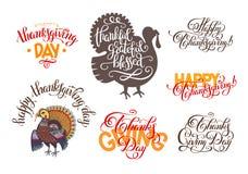 Комплект надписей литерности руки к официальный праздник в США в память первых колонистов Массачусетса иллюстрация штока