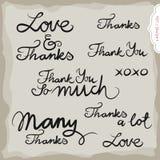 Комплект надписи влюбленности и спасибо нарисованный рукой Стоковая Фотография RF